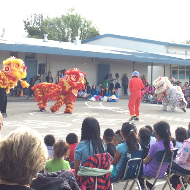 The Lion Dance performance features a variety of eye-catching choreographic moves.