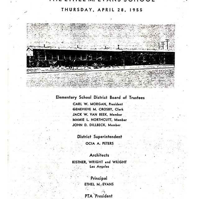 The cover of a bulletin from the past educates scholars on the history of our school district.