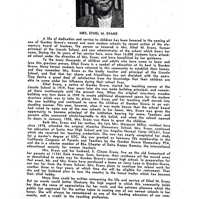 An article about Mrs. Ethel M. Evans provides interesting information about out campus!